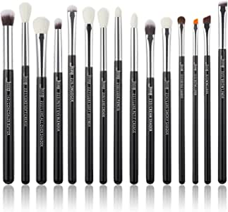 Jessup 15Pcs Professional Makeup Brushes Set Make up Brush Tools kit Cosmetics Tools Eye Liner Shader Wood Handle Natural-synthetic Hair Brushes Pearl Black/Silver T177 (Black/Silver)