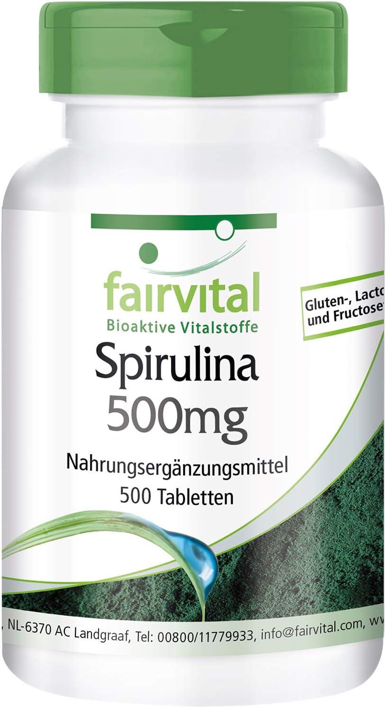 Espirulina 500mg - Spirulina platensis - VEGANA - 100% PURA y sin aditivos - Dosis elevada - 500 Comprimidos - Calidad Alemana: Amazon.es: Salud y cuidado personal