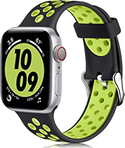 Nofeda Bands Compatible with Apple Watch Band 38mm 40mm for Women Men,Soft Silicone Waterproof Breathable Replacement Wristband Sport Strap for iWatch Series 1/2/3/4/5/6/SE, Black/Green, S/M