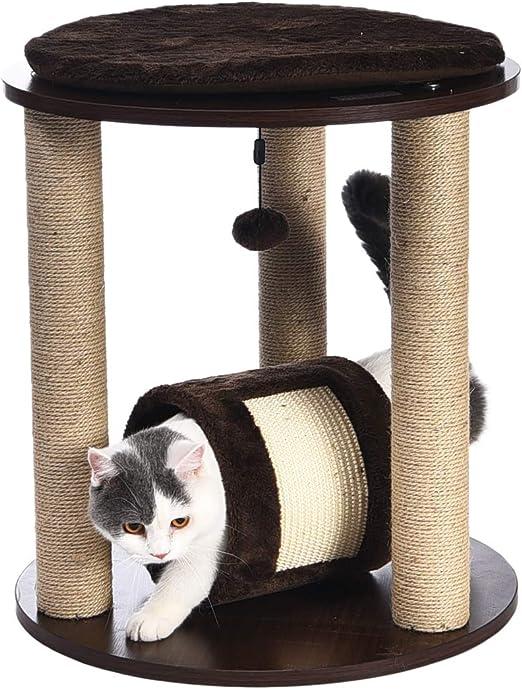 AmazonBasics - Mueble de madera con tres torres, cerramiento, poste rascador y túnel para gatos, 50,8x50,8x55,9 cm: Amazon.es: Productos para mascotas