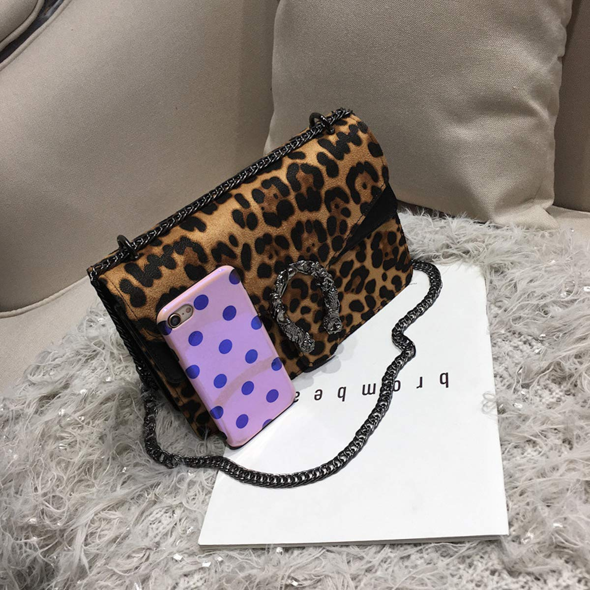 Dark brown, 24 /× 9.5 /× 16cm Herbst und Winter Taschen weiblich 2018 neue wilde Kette Leopard Print Schulter diagonal Paket Mode kleine quadratische Tasche