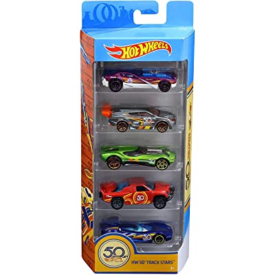 Hot Wheels 50th Anniversary Track Stars 5 Pack, 1:64 scale: Toys & Games