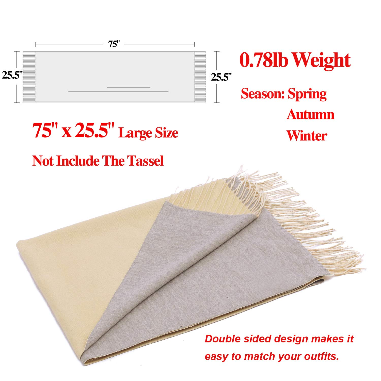 Luxuriously Soft Large Winter Scarves GIft Box Women Stylish Warm Blanket Scarf Solid Oversized Pashmina Cashmere Shawl Wrap Scarves 75''x25.5'' (Beige/Grey, Box) by Arctic Penguin (Image #3)