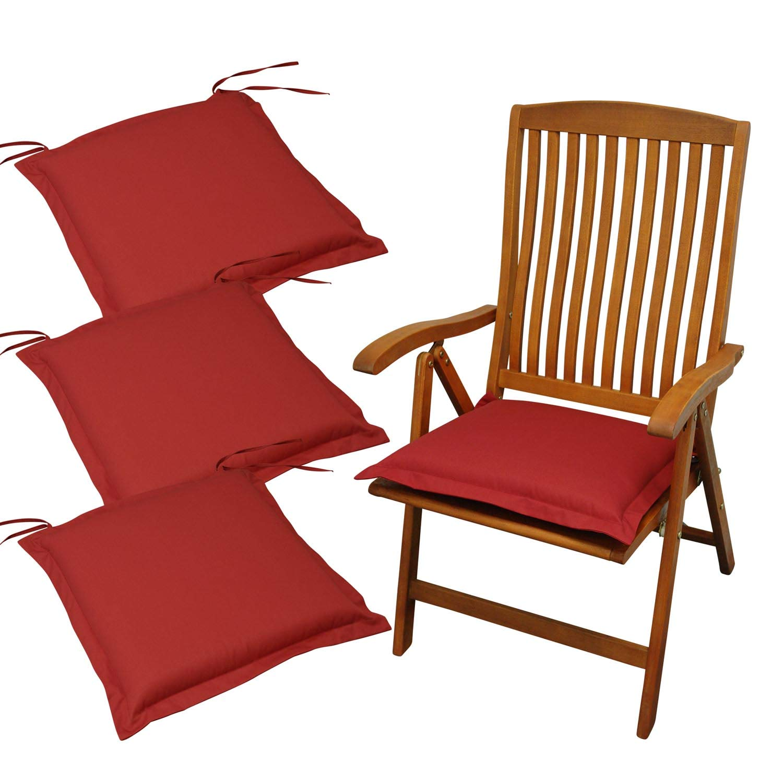 Indoba 4 x Sitzkissen Premium Polsterauflage Rot