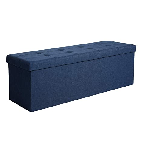 SONGMICS Sitzbank mit Stauraum, Truhe mit Deckel, faltbares Sitzmöbel,  Bett, Schlafzimmer, Flur, platzsparend, 120L Fassungsvermögen, stabil bis  300 ...