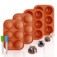 Silicone Molds, 6 Holes Semi Sphere Chocolate Molds, 4 Pack Silicone Baking Mold for Making Hot Chocolate Bombs, Cake, Jelly(Comes with 2 Droppers)