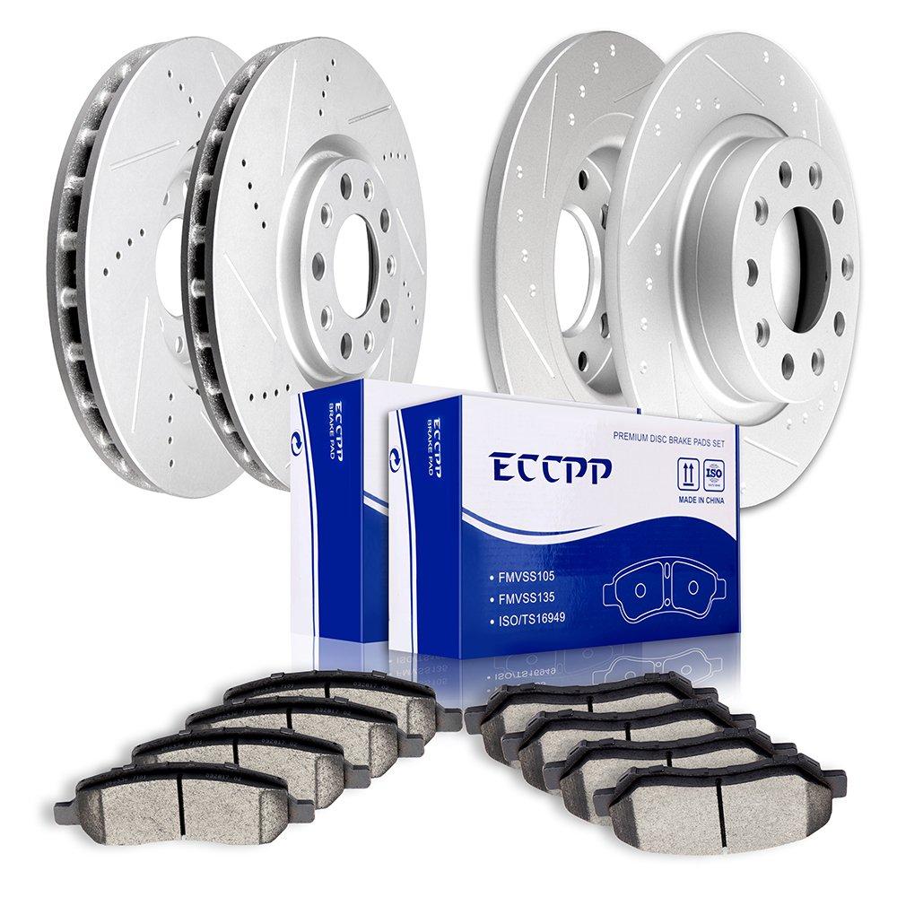 ECCPP 4pcs Slotted and Drilled Brake Rotors Discs and 8pcs Ceramic Pads  Brake Kit for 2013 2014 2015 2016 Dodge Dart