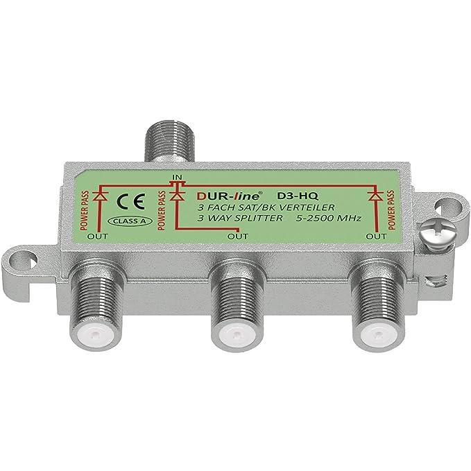 DUR-line Sat & BK distribución Hq de 3 vías Divisor Completamente blindado Unicable Alta Definición Adecuado: Amazon.es: Electrónica