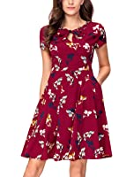 Noctflos Women's 1950's Vintage Floral A line Cocktail Tea Dress with Pocket