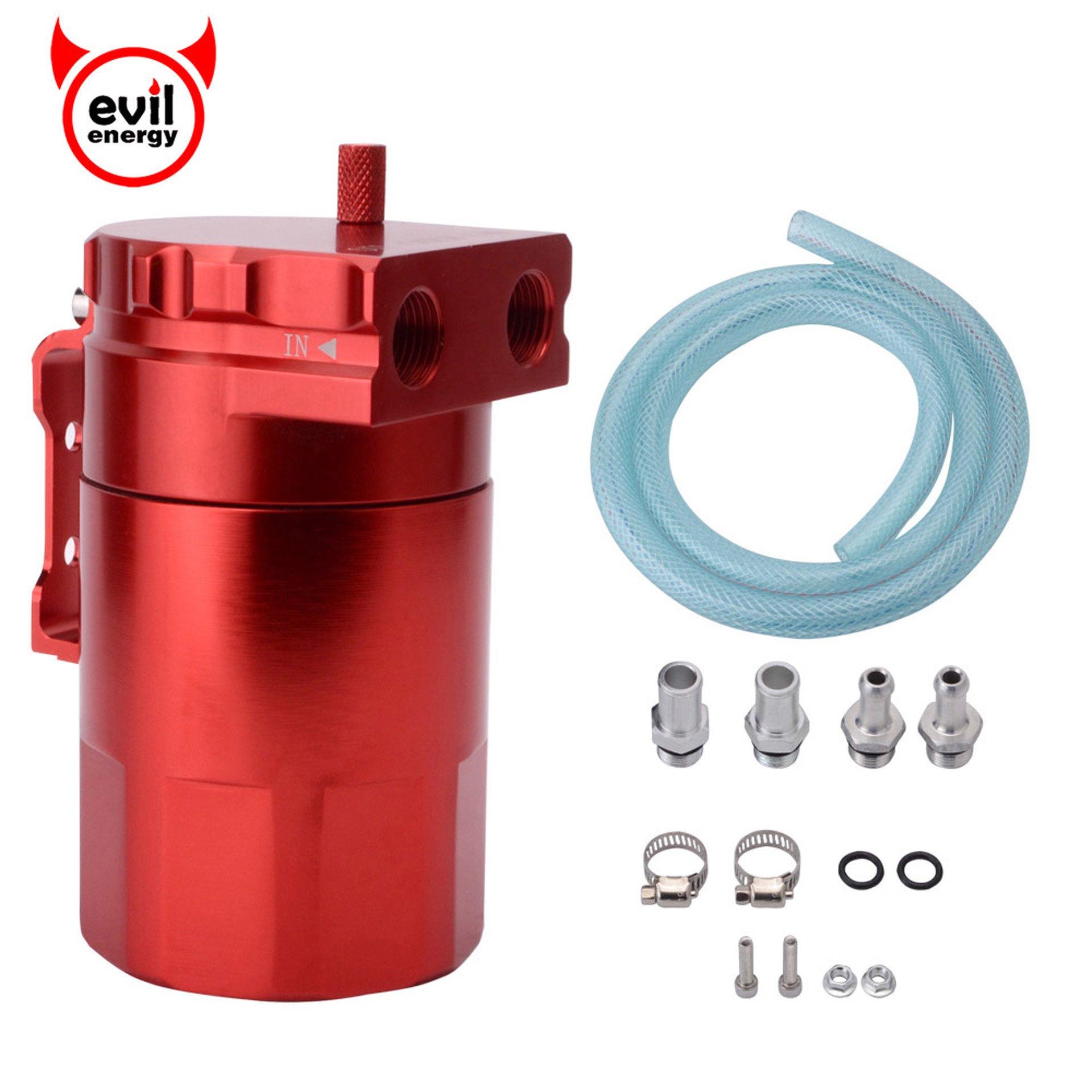 EVIL ENERGY Baffled Universal Oil Catch Can Reservoir Tank Breather Filter Kit