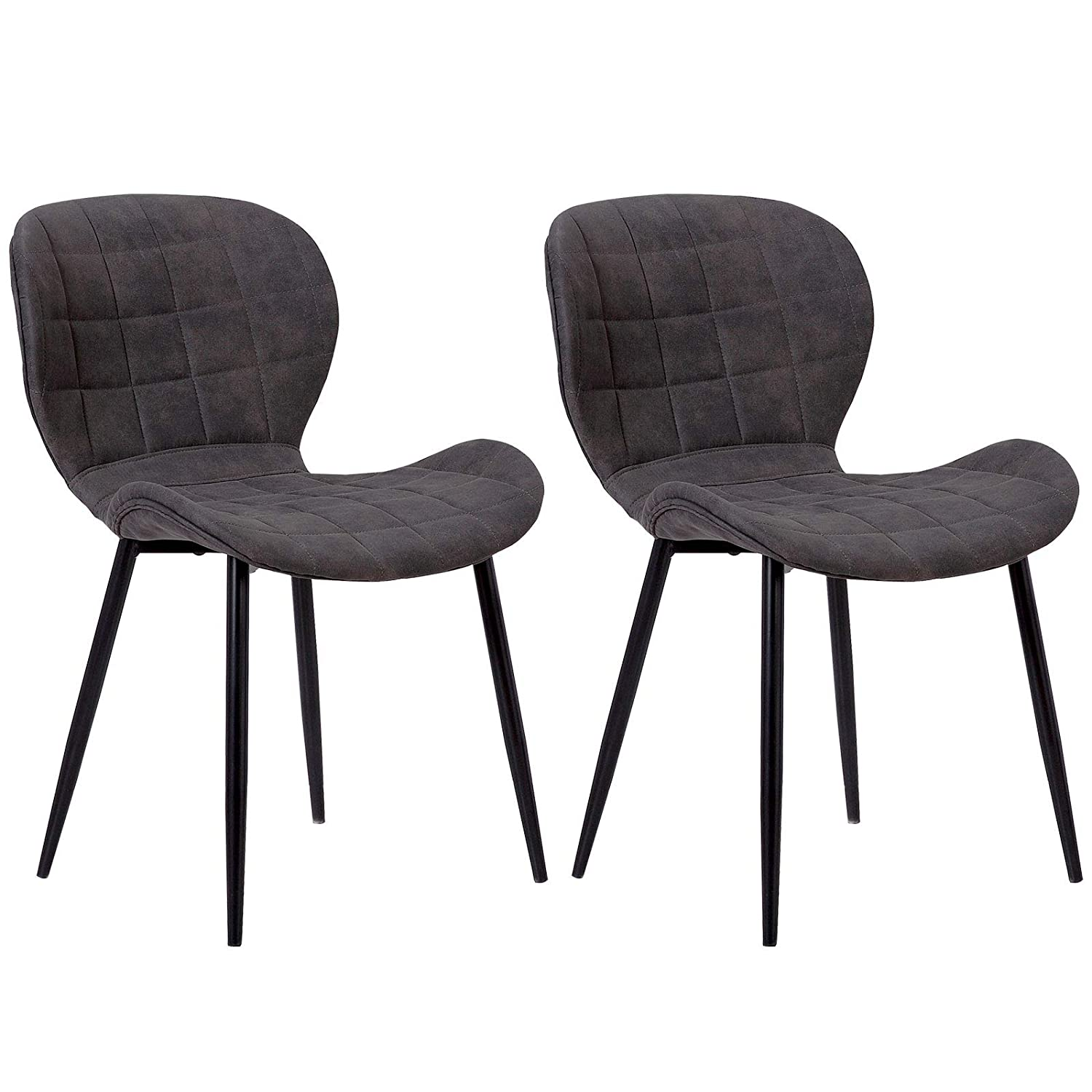 WOLTU Kitchen Dining Chairs Anthracite Set of 2 pcs Kitchen Counter Office Lounge Living Room Chairs with Back and Solid Metal Legs