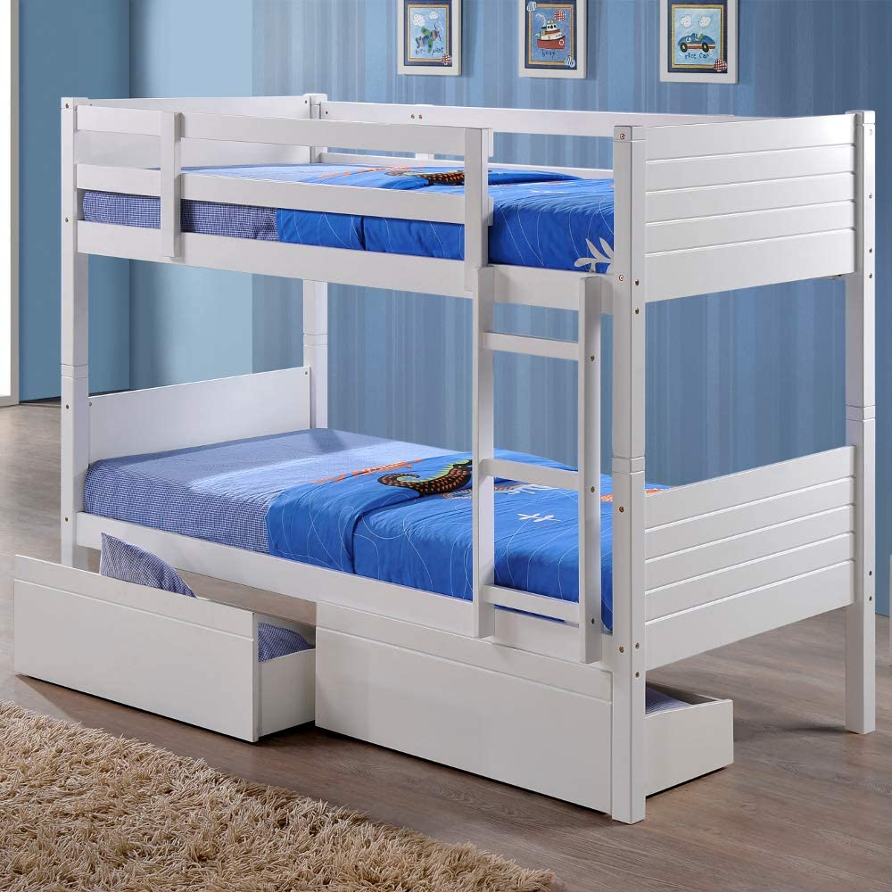 Happy Beds Feliz Camas litera de Bedford de Almacenamiento con 2 cajones 3 de Madera en Color Blanco 2 X colchones 3 Single 90 x 190 cm, Blanco, 3FT - 2X Spring Mattress: Amazon.es: Hogar