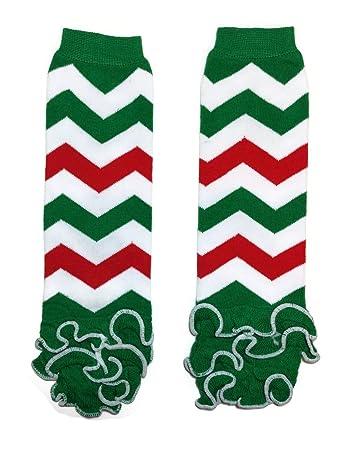 KWC Christmas Baby Leg Warmer// Leggings One Size, Red /& Green Stripes Ruffles