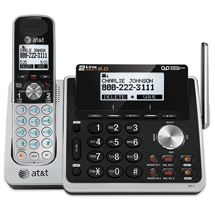 AT&T TL88102 DECT 6.0 2-Line Expandable Cordless Phone with Answering System and Dual Caller ID/Call Waiting, 1 Handset, Silver/Black