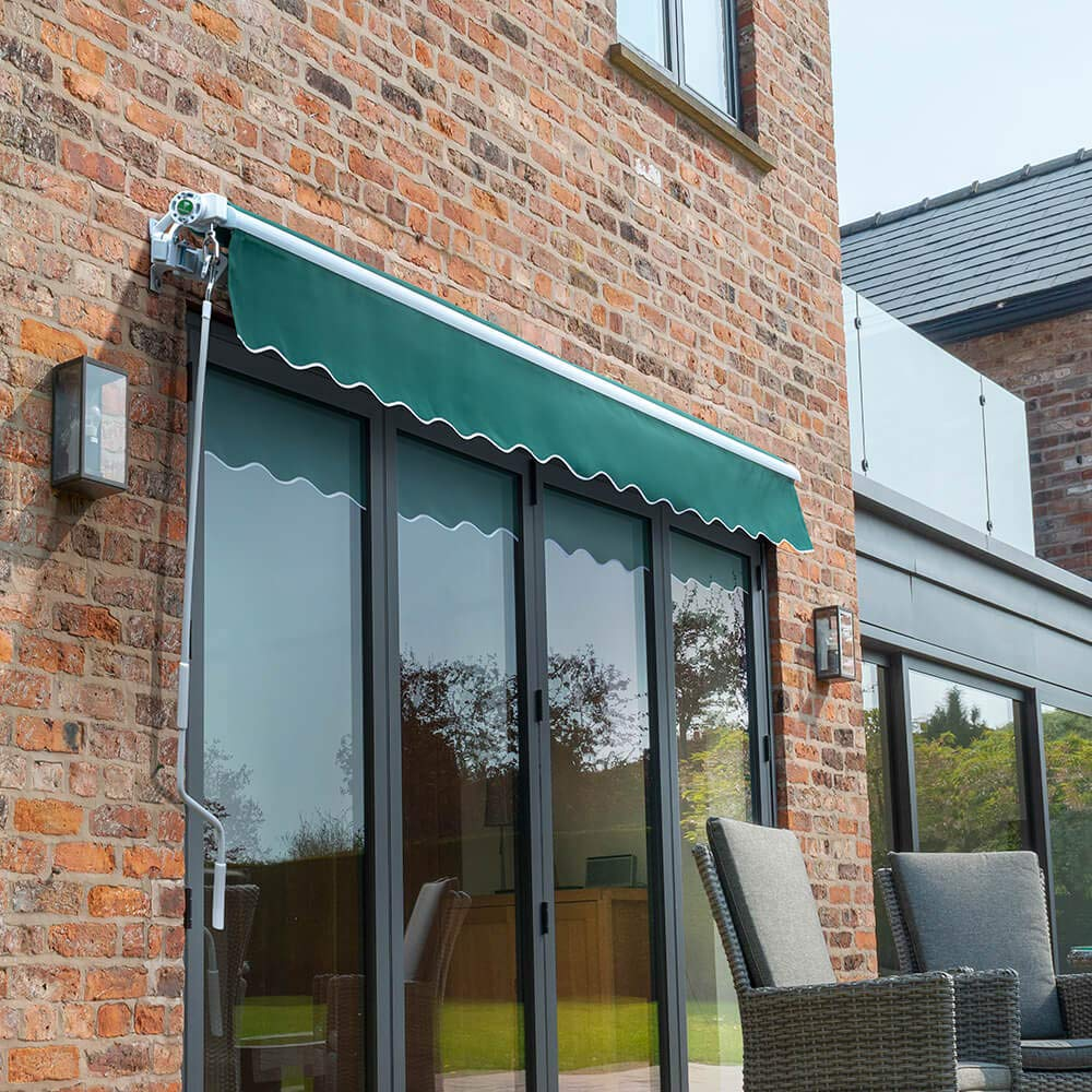 Primrose 2.5m x 2.0m Manual Awning Standard Cassette DIY Patio Awning Gazebo Canopy Charcoal Complete with Fittings and Winder Handle 8ft 2