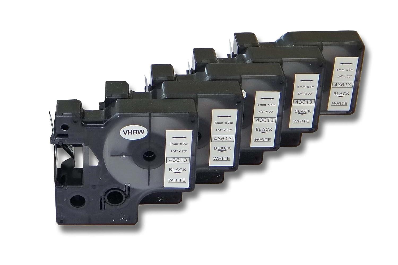 5x vhbw Cartucce a nastro 6mm per Dymo LabelMaker PC2, Dymo 2000, 5000, 5500 come Dymo D1, 43613. VHBW4251123962713