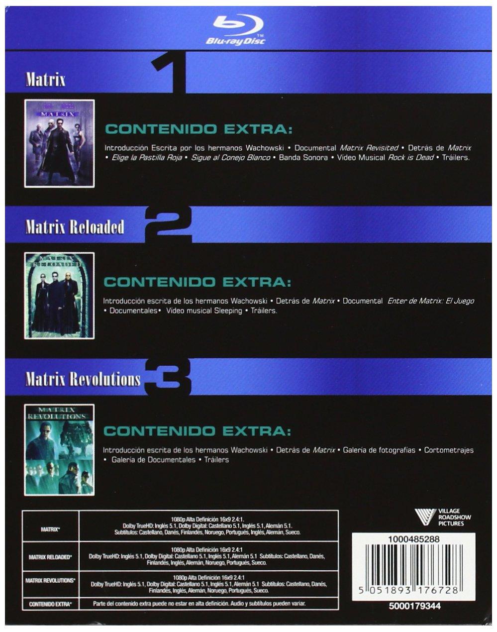 Pack: Matrix + Matrix Revolution + Matrix Reloaded Blu-ray: Amazon.es: Keanu Reeves, Laurence Fishburne, Carrie-Anne Moss, Andy Wachosky, Lana Wachosky, Keanu Reeves, Laurence Fishburne, Bruce Berman: Cine y Series TV