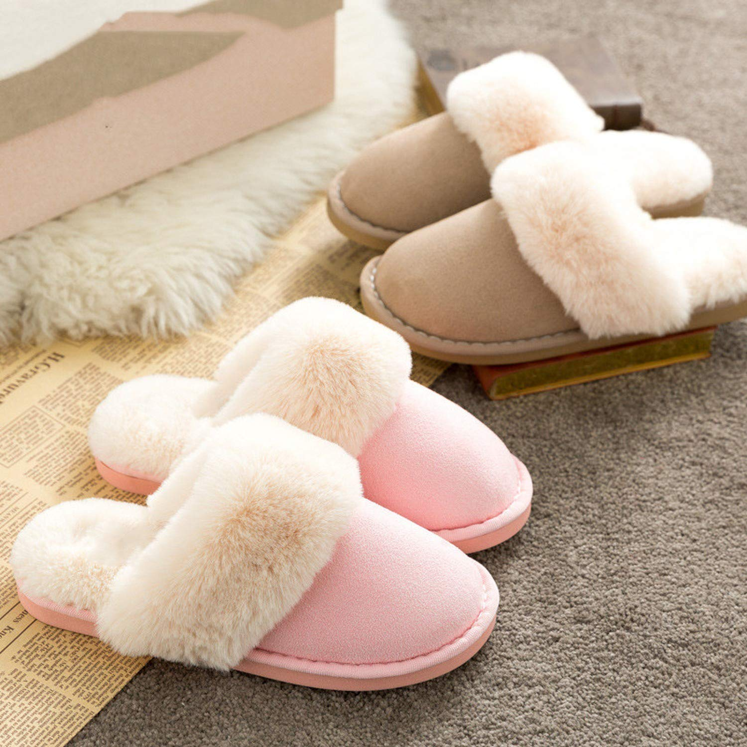 Fairy-Margot Winter Warm Ful Slippers Women Slippers Cotton Sheep Lovers Home Slippers House Shoes Woman,Blue,9.5