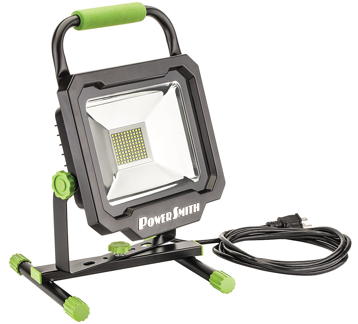 PowerSmith PWL1150BS 50W 5000 Lumen LED Work Light with Black Metal Housing and Stand with 10Ft Power Cord