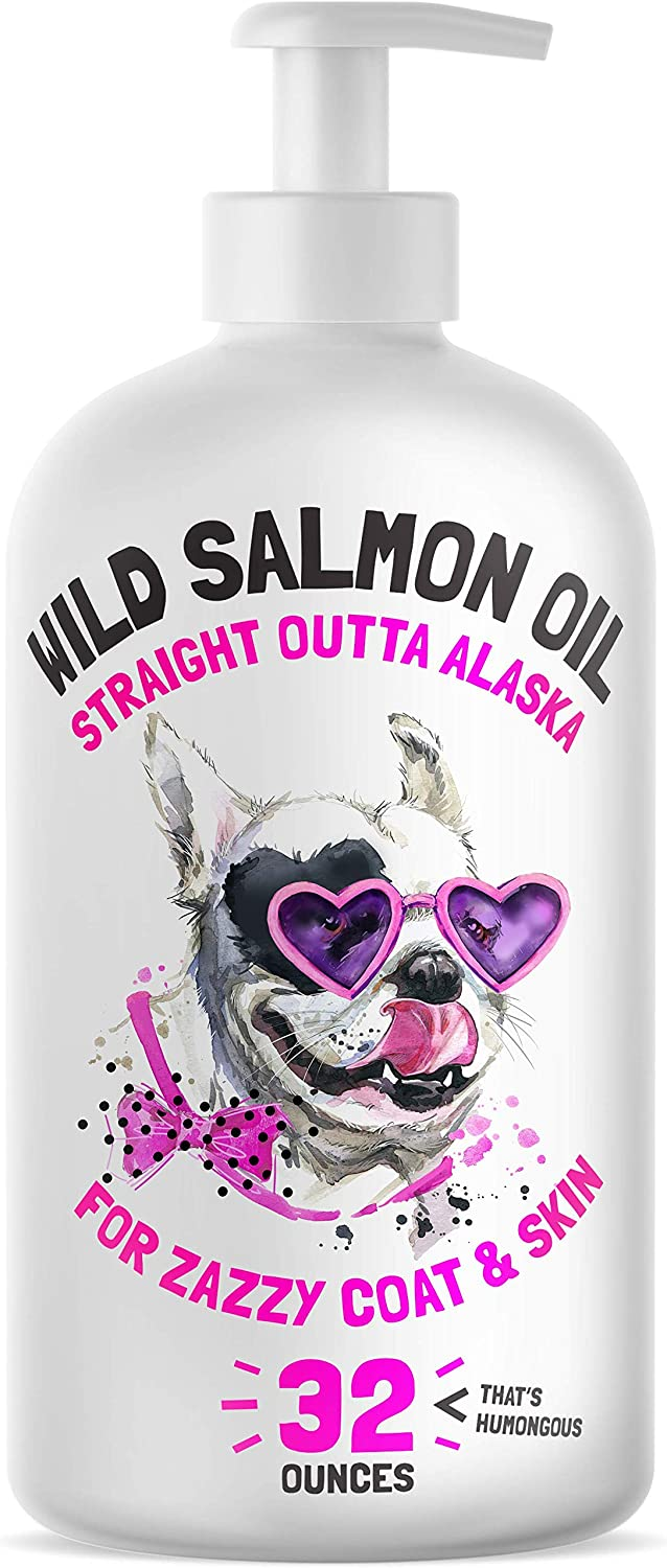 Wild Alaskan Salmon Oil for Dogs & Cats - Pure Fish Omega 3 6 9 Liquid EPA DHA Fatty Acids - Skin & Coat Supplement - Supports Joint Function, Brain, Eye, Immune & Heart Health - Made in USA 32 oz