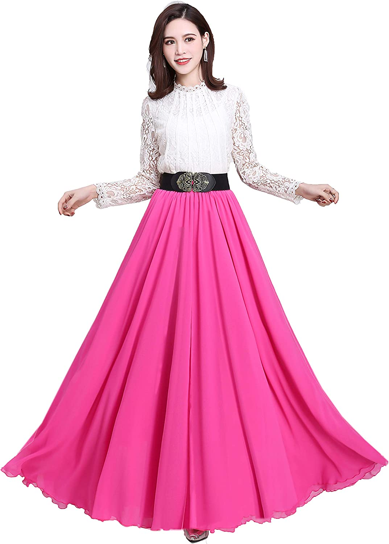 Summer Chiffon High Waist Pleated Big Hem Floor/Ankle Length Beach Maxi Skirt for Women Wedding Party Long Skirts