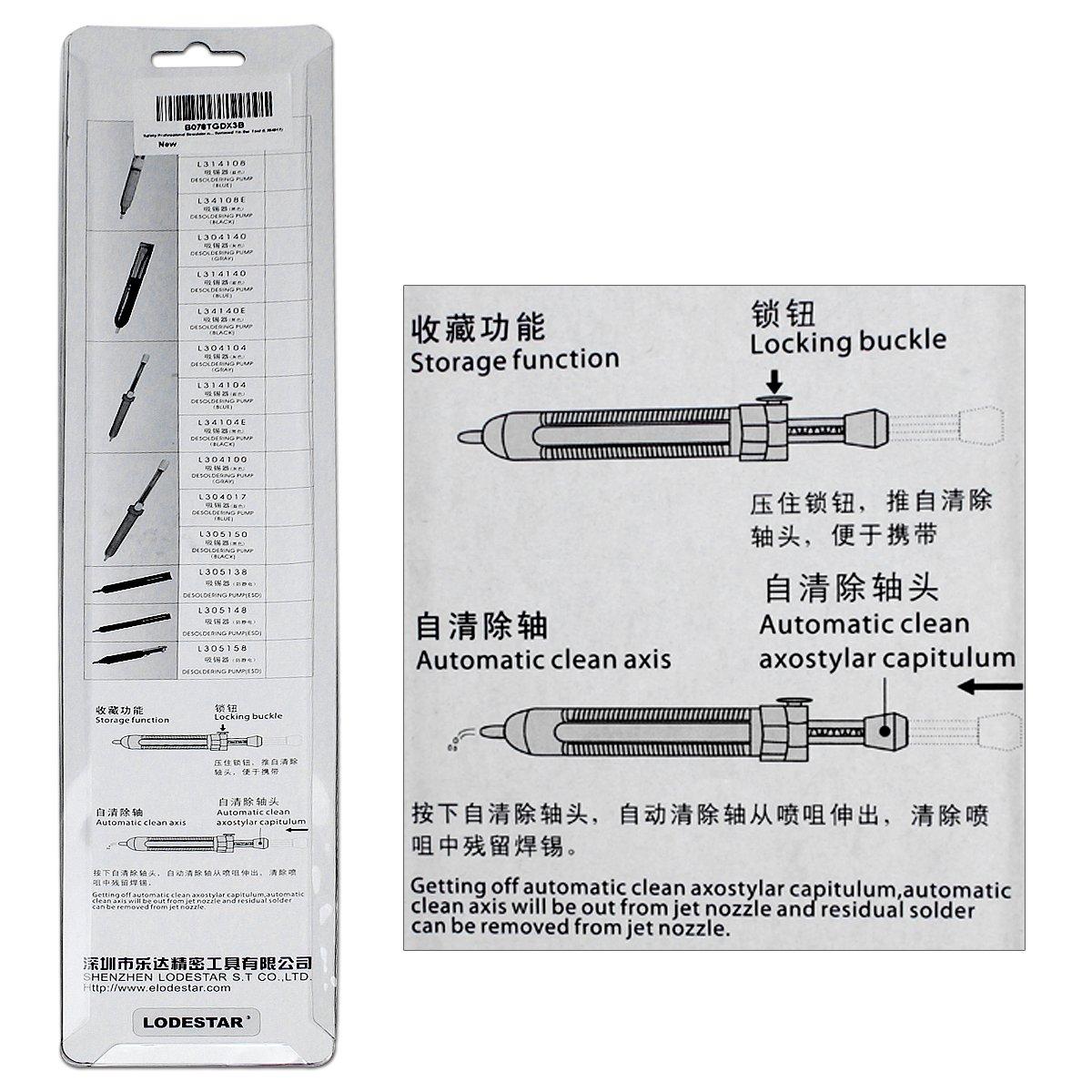 Safety Professional Desoldering Pump - Esste 275/330MM Solder Sucker Desoldering Pump Soldering Iron Removal Tin Bar Tool (L304017) by Esste (Image #9)