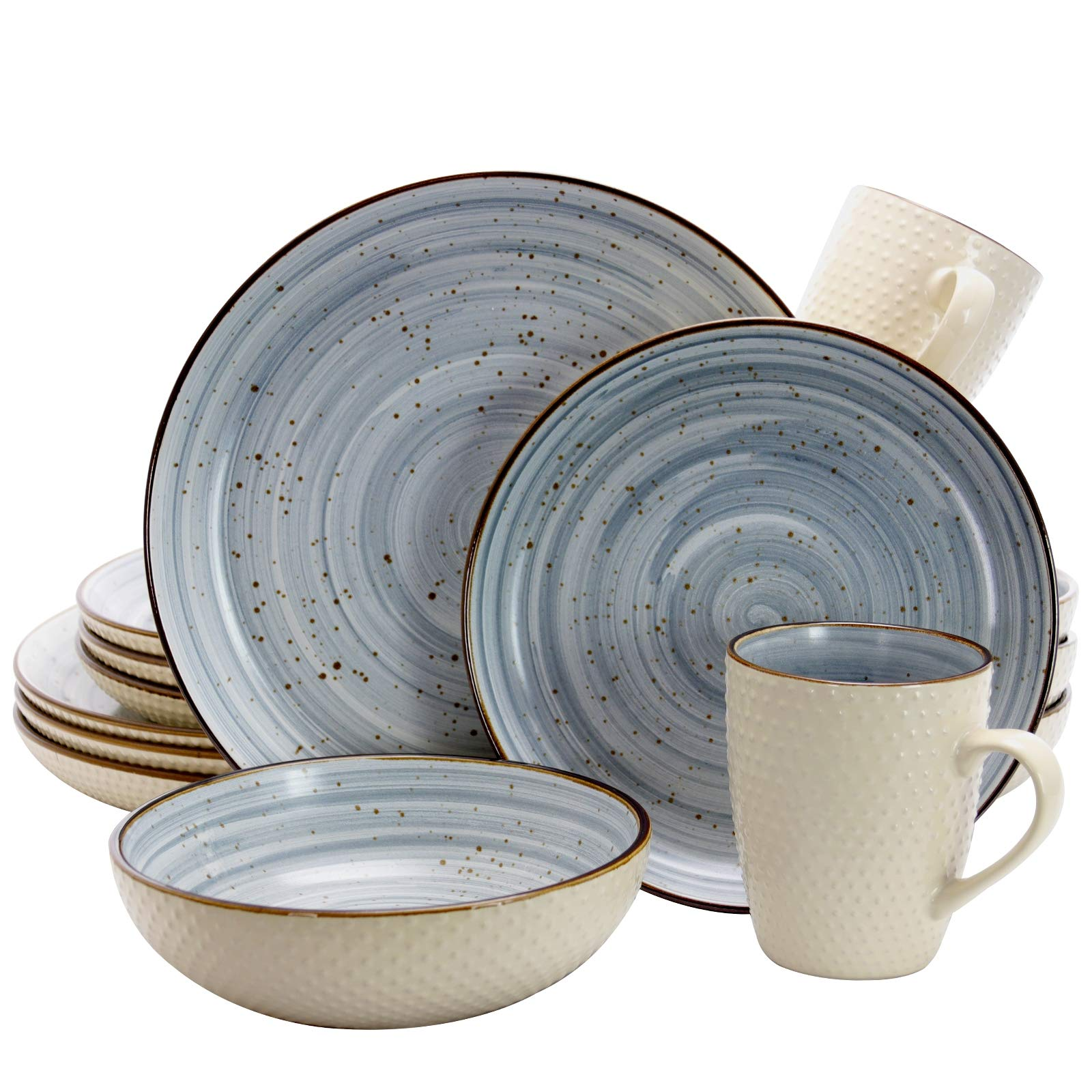 Elama EL-MELLOWBLUE Mellow 16-Piece Dinnerware Set in Powder Blue, 16pc by Elama