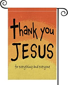 AVOIN colorlife Thank You Jesus Garden Flag Vertical Double Sided for Everything and Everyone, God Christian Passion Week Nativity Yard Outdoor Decoration 12.5 x 18 Inch