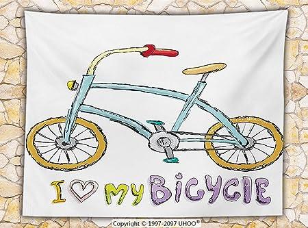 Bicycle Decor Fleece Throw Blanket I Love My Bicycle Quote Print