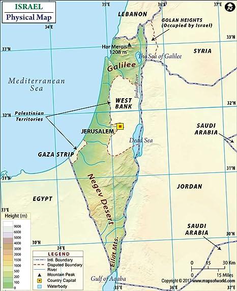 Amazon.com : Israel Physical Map - Laminated (36\