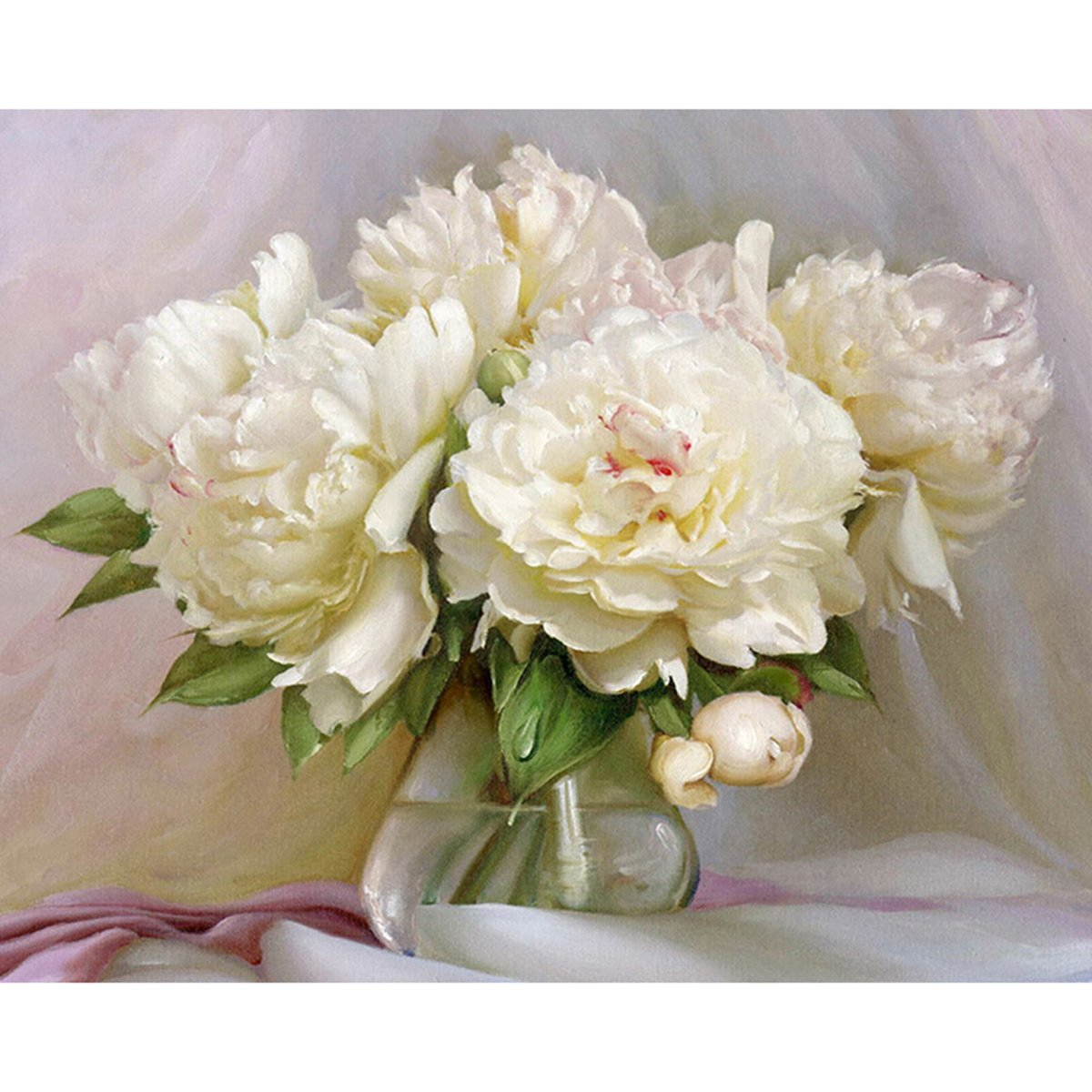 Shukqueen Diy Oil Painting, Adult's Paint by Number Kits, Acrylic Painting-White Peony 16X20 Inch (Framed Canvas)