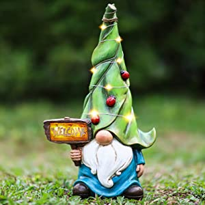 Garden Gnome Statue, DesGully Resin Gnome Figurine with Solar LED Lights, Yard Decor, Outdoor Statues Garden Decor for Patio Yard Lawn Porch, Gardening Gifts (Welcome gnome)