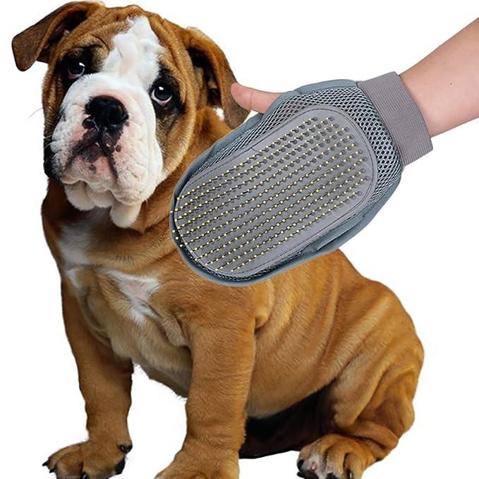 Guantes Manopla Peinador de Mascotas - Autbye Uso de Doble Cara Cepillo de Guante para Mascotas Pin de Estilo de Goma Plástica Térmica Peine para el baño ...