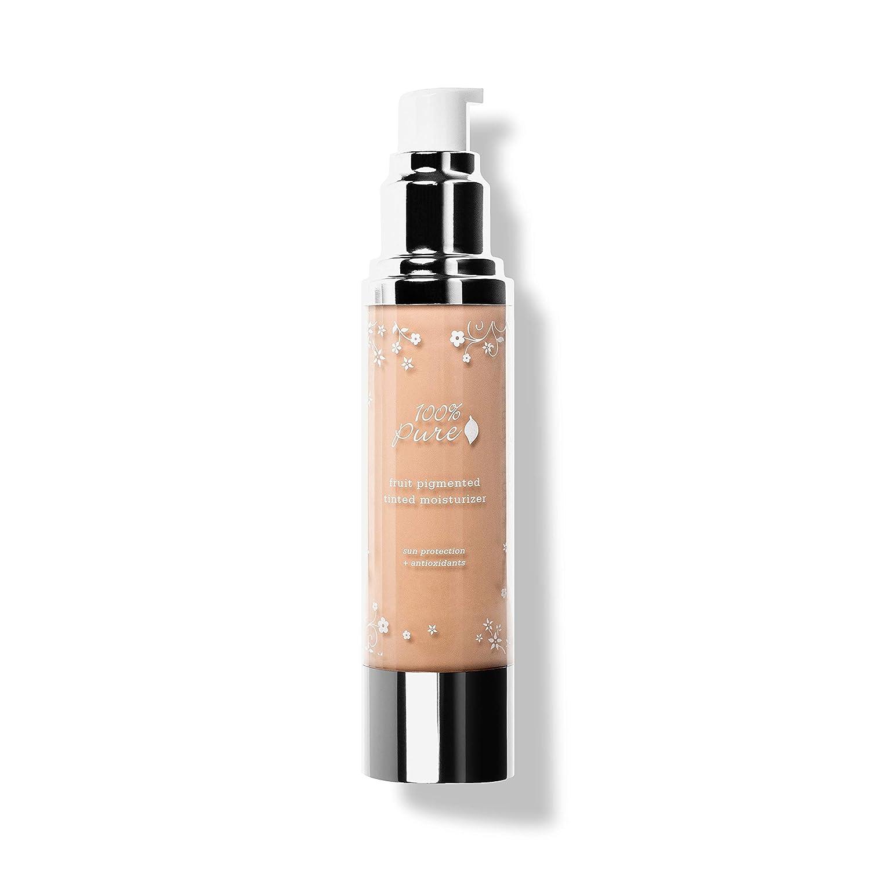 100% PURE Tinted Moisturizer (Fruit Pigmented), Sand, Light to Medium Coverage, Dewy Finish, Lightweight Foundation, Vegan Makeup (For Light-Medium Skin w/Pink-Neutral Undertones) - 1.7 Fl Oz