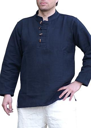 Pesado de alta edad media-camiseta/camisa de algodón de los piratas con botones de madera tejida a mano, colour negro - de la Edad media, juegos de ...