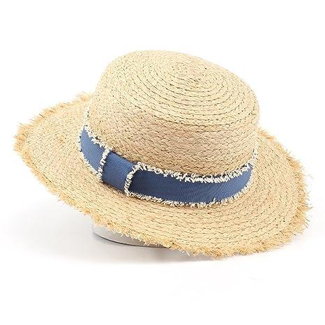 Rafia sombrero de copa plano con flecos sombrero de paja señoras verano azul cinta sunhat aliexpress