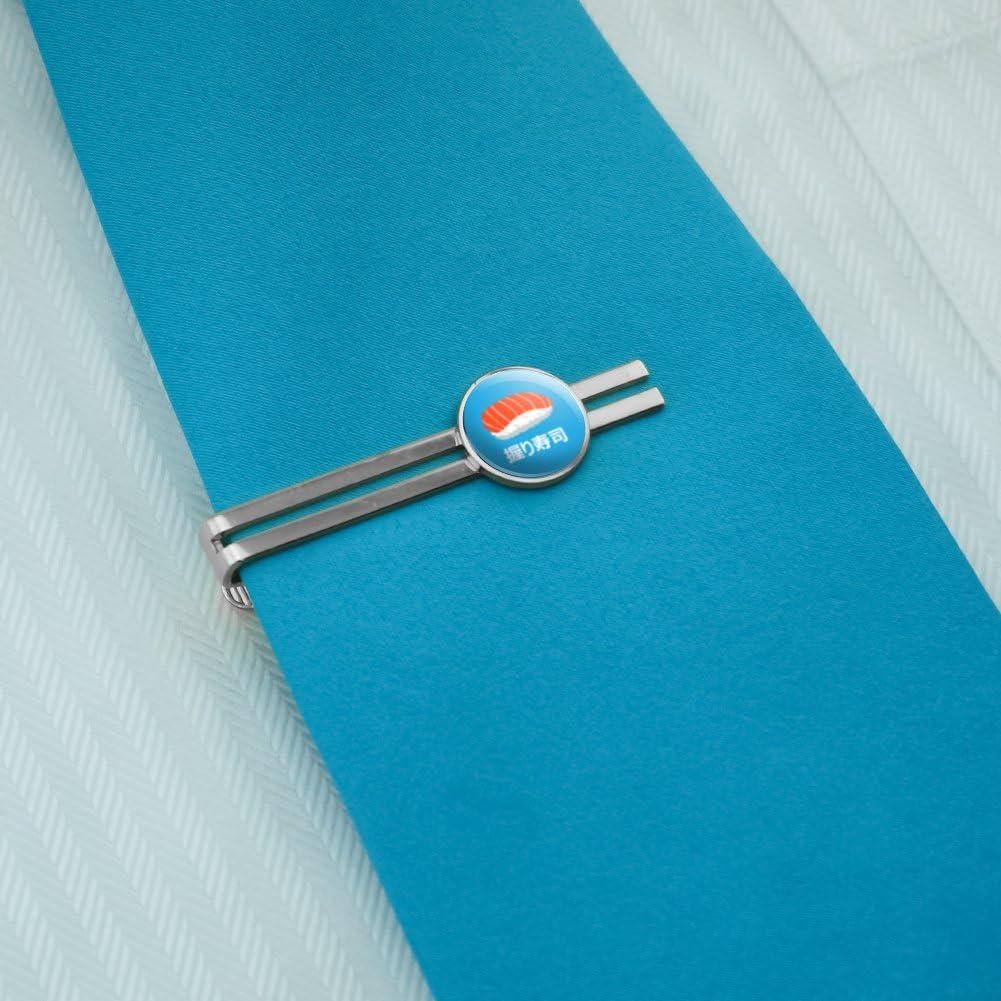 GRAPHICS /& MORE Sushi Nigiri Japanese Nigirizushi Round Tie Bar Clip Clasp Tack Silver Color Plated