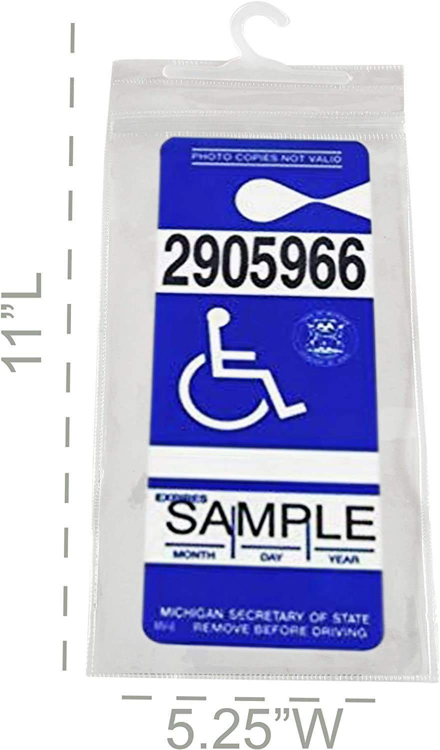 Disabled Parking Permit Holder Hanger Sleeve with Larger Hook by Tbuymax Set of 2 Handicap Parking Placard Holder