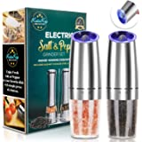 JOBKIM Gravity Electric Grinder set of 2, Automatic Pepper and Salt Mill Grinder, Battery Powered, Adjustable Roughness…