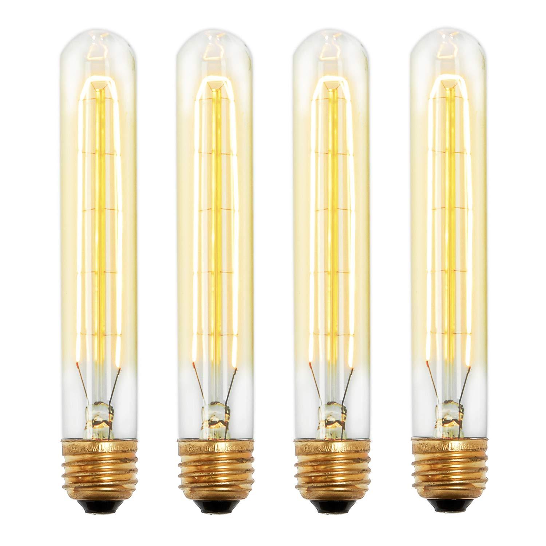Tubular Edison Bulb 40W Dimmable - T9 Vintage Bulbs, Warm White, E26 Medium Base, Hairpin Filament, Cobble Hill Design - Set of 4