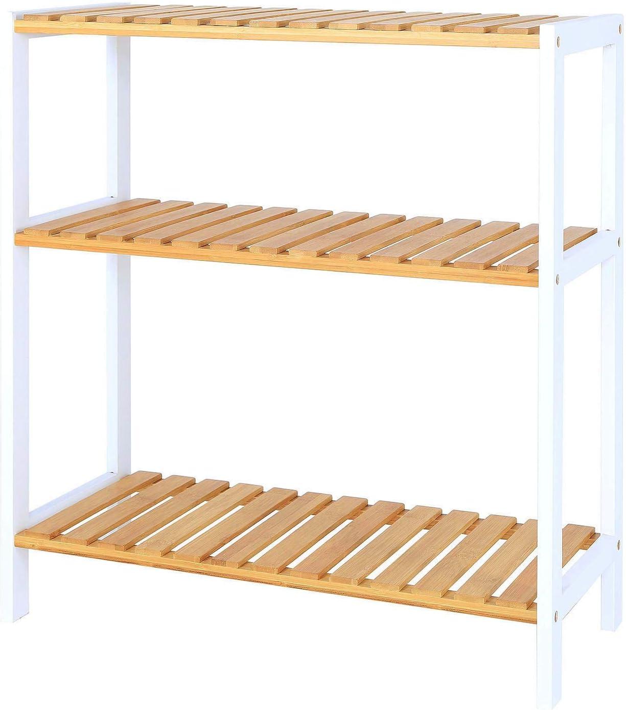 dibea Zapatero con 3 estantes, Zapatero, salón, estantería de pie, estantería de Cocina, 60 x 26 x 66 cm, Color Natural y Blanco