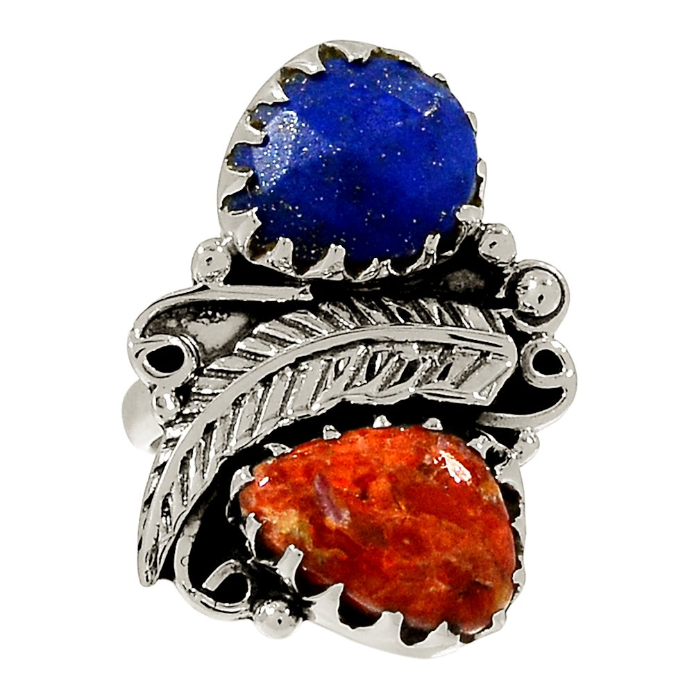 Xtremegems Southwest Design Coral /& Lapis 925 Sterling Silver Ring Jewelry Size 7.5 22081R
