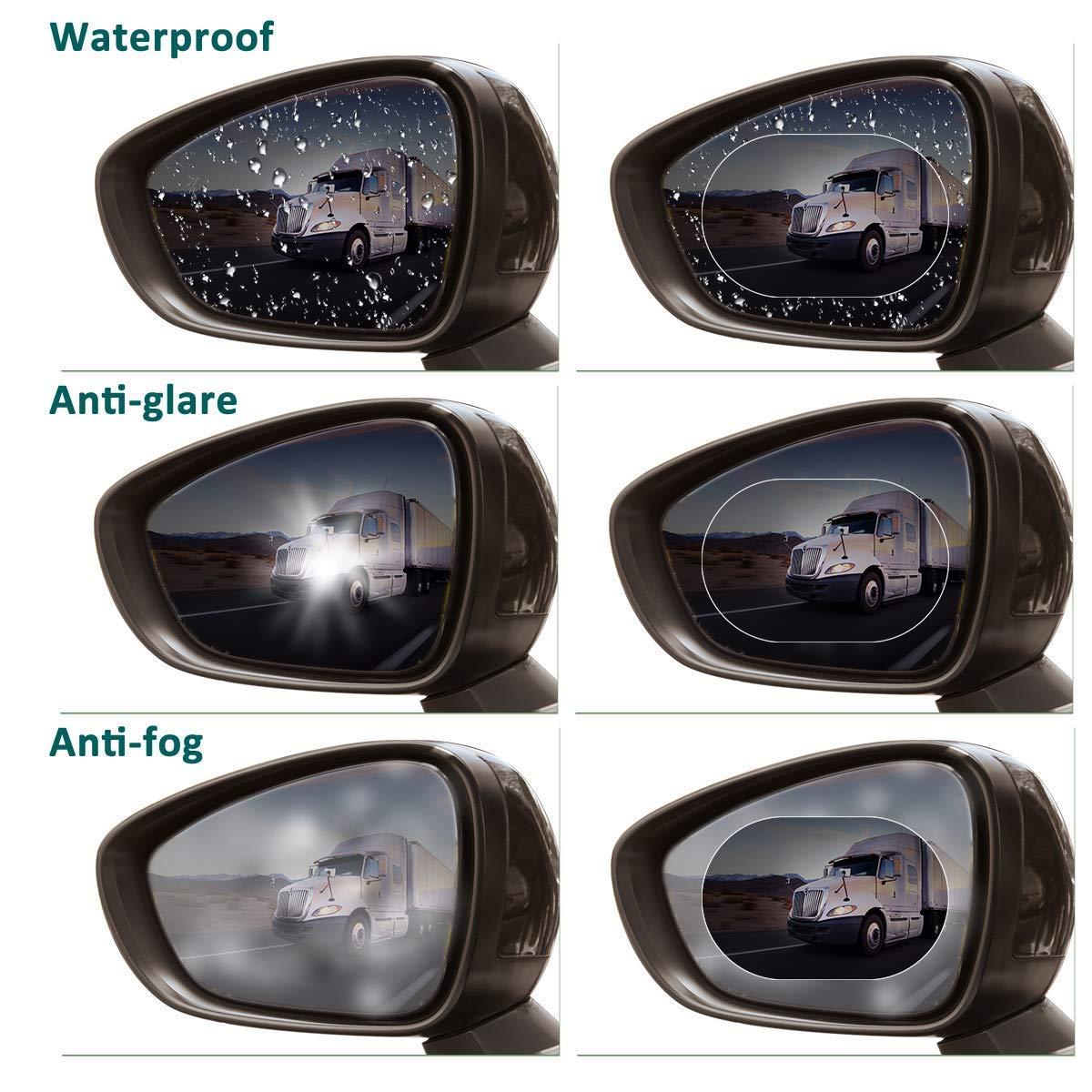 Pellicola antiriflesso per specchietto retrovisore auto 1 paio adatta a tutti i modelli di a Delaman Crystal Pellicola antipietro specchietto retrovisore impermeabile antipioggia 2 pezzi ovale