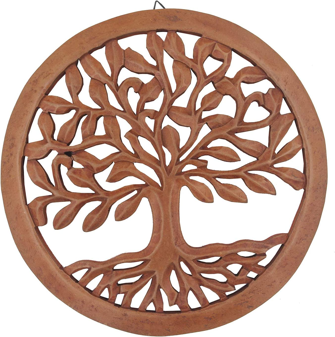 DharmaObjects Handcrafted Wooden Tree Of Life Wall Decor Hanging Art (Brown)