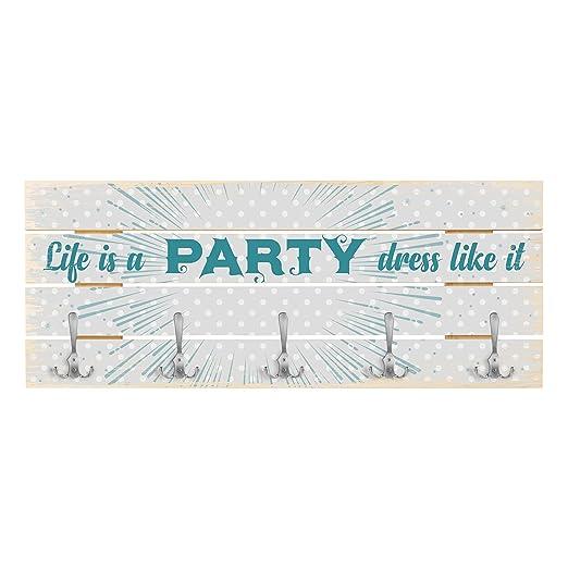 Bilderwelten Perchero de Madera - Life is a Party - Ganchos ...