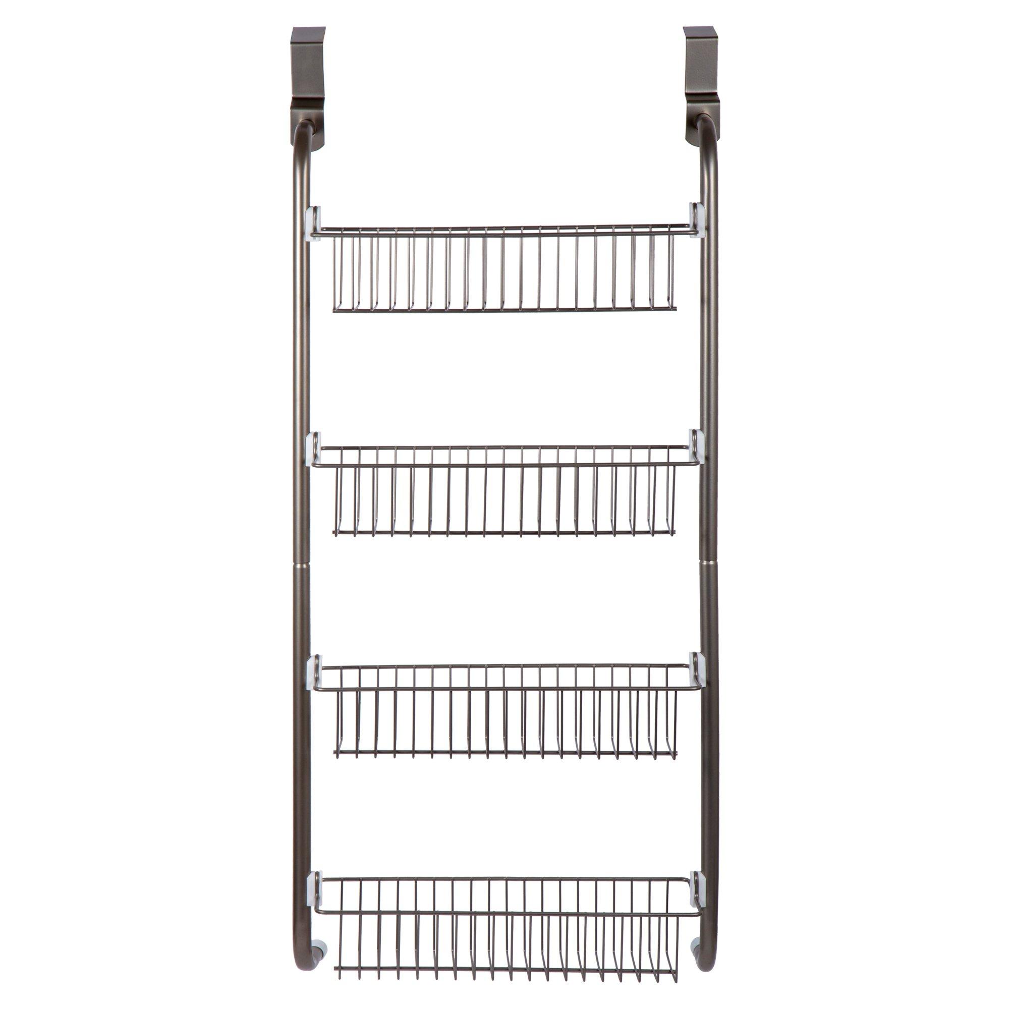 CTG Bodico, 4-Tier Over-The-Door Shower Basket Set 4, 16 x 36, Satin Nickel,