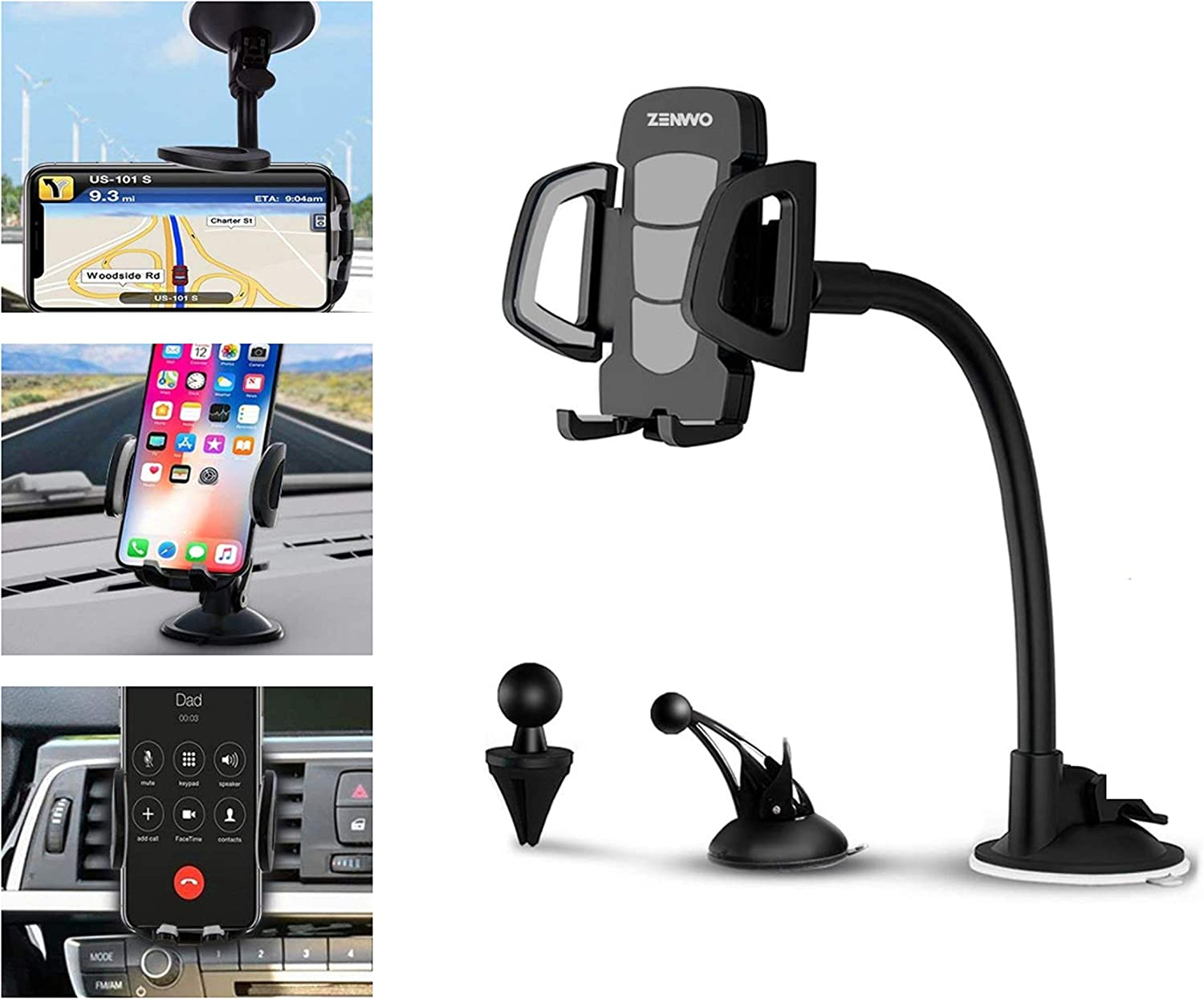 Dashboard and Windshield Mount//Compatible with iPhones//Note//Galaxy//Google and More Car Phone Holder ZENVVO 3-in-1 Universal Phone Holder for Air Vent