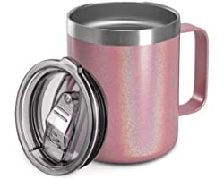 12oz Stainless Steel Insulated Coffee Mug with Handle, Double Wall Vacuum Travel Mug, Tumbler Cup with Sliding Lid, PINK GLIT