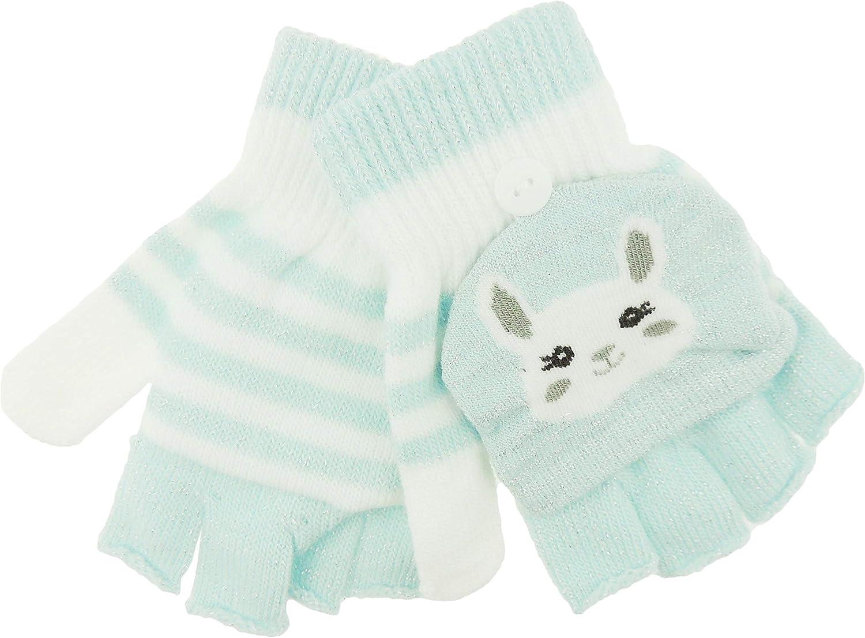 Blue Glamour Girlz Girls Children Soft Knit Warm Winter Animal Gloves Mittens Glittery Stripe Bunny 3 Up To 6 Years