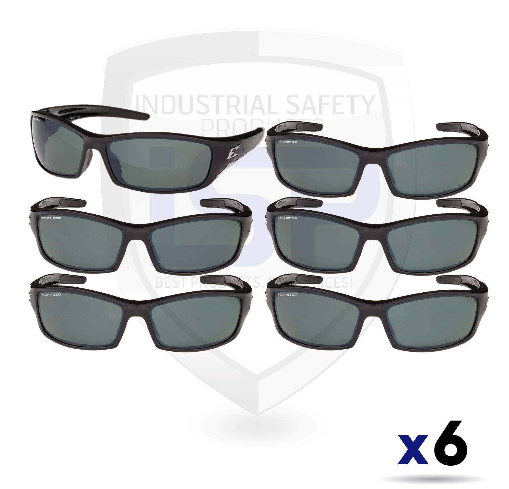 Edge Eyewear TSR21-G15-7 Reclus Safety Glasses, Black with Polarized G and 15 Silver Mirror Lens (6 pack)